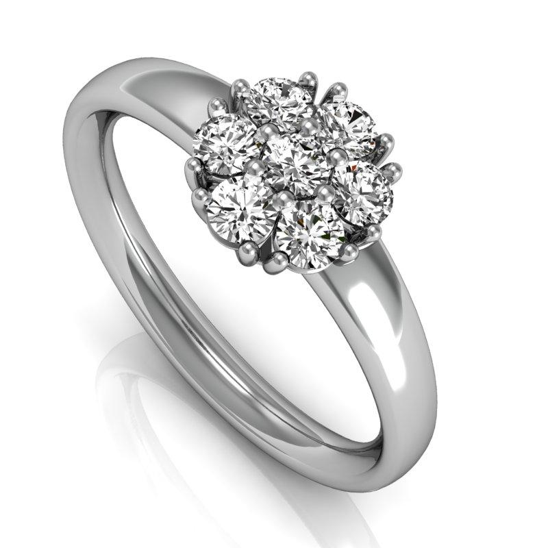 anel de ouro branco e diamante emotion