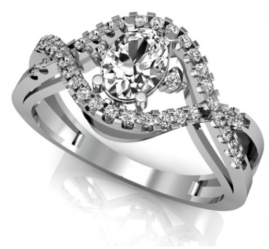 anel de ouro branco e diamante arrojado