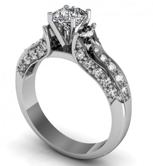 anel de ouro branco e diamante