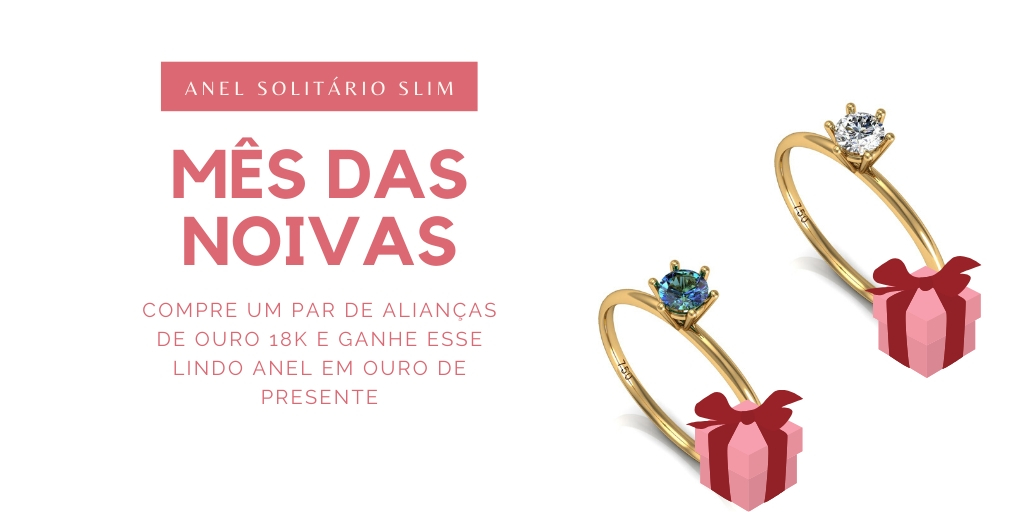 Joalheria dá um anel de presente para cliente que comprar um Par de Alianças